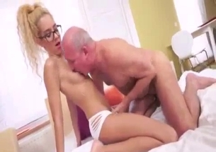 Blonde babe sucks her granddad dick