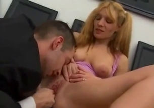 Busty blonde jumps on her brother boner