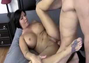 Big boobed mom gets impaled in the bed