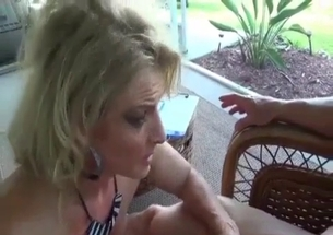 Topnotch blonde gives her grandpa a blowjob