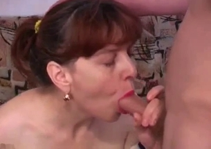My hot redhead mom is sucking my hard dick